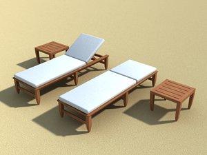 kingsley chaise amalfi teak 3d model