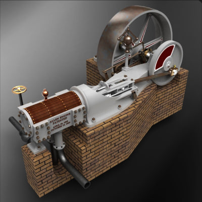 3d porter-allen steam engine 1890