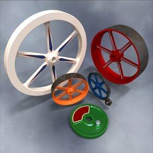 3d flywheels pulleys gears model