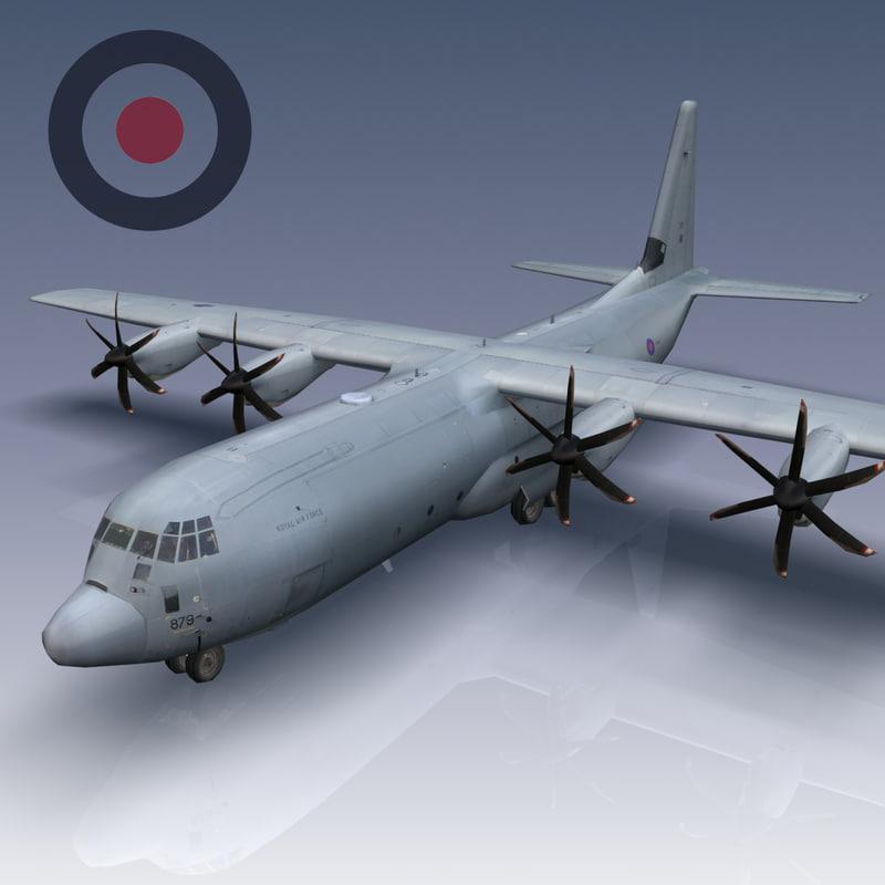 raf c-130j c4 hercules aircraft 3d model