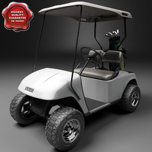 3d model golf car ezgo v2