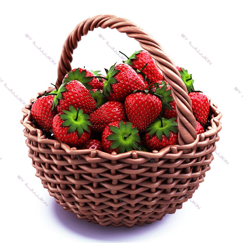 3d model strawberry basket