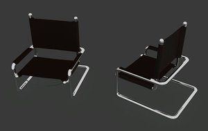 3d chair chrome lather