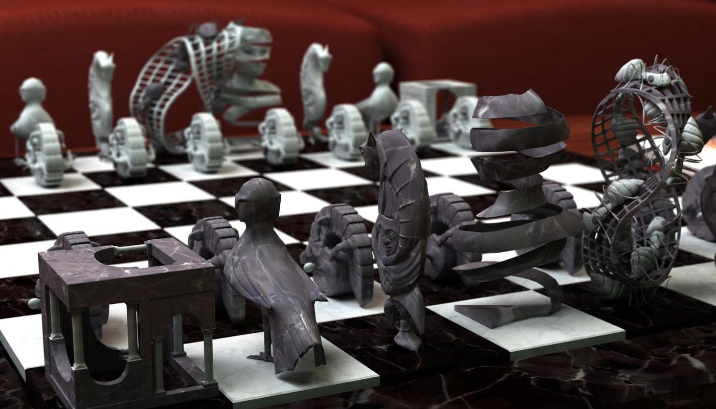 3d escher chess set