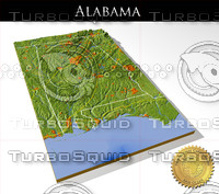Alabama, High resolution 3D relief maps
