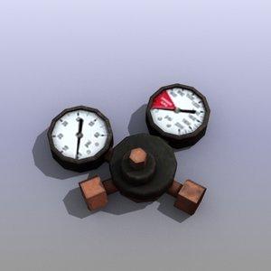 industrial pressure meter 3d model