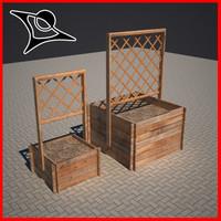 wood planter plant 3d model