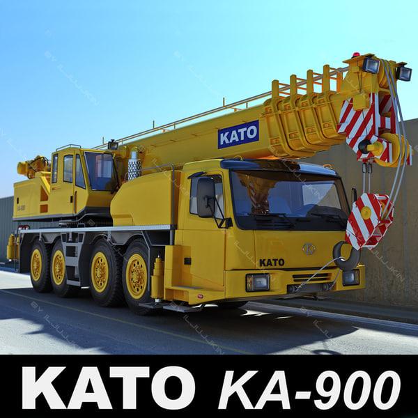 realistic mobile crane kato 3d model