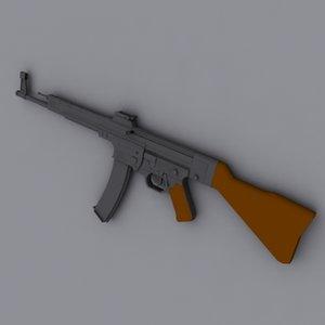 german sturmgewehr 44 assault rifle 3d model