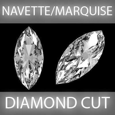 navette marquise diamond cut 3d model