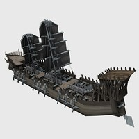 3d phantasy warship vessel model