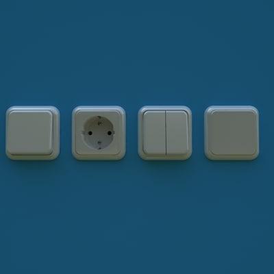 european light switches wall 3d model