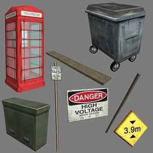 street bin sign 3d max