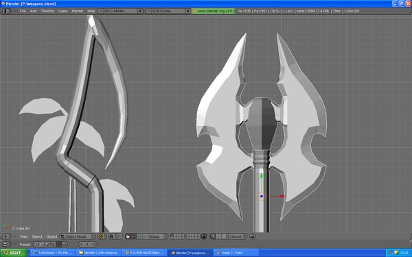 weapons staff axe 3d model