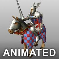 rigged mounted knight horse 3d model