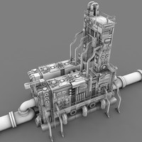 sci-fi power relay station 3d obj
