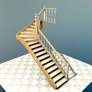 3d interior stairs escaleras