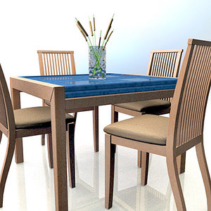 3ds max conjunto mesa set chairs