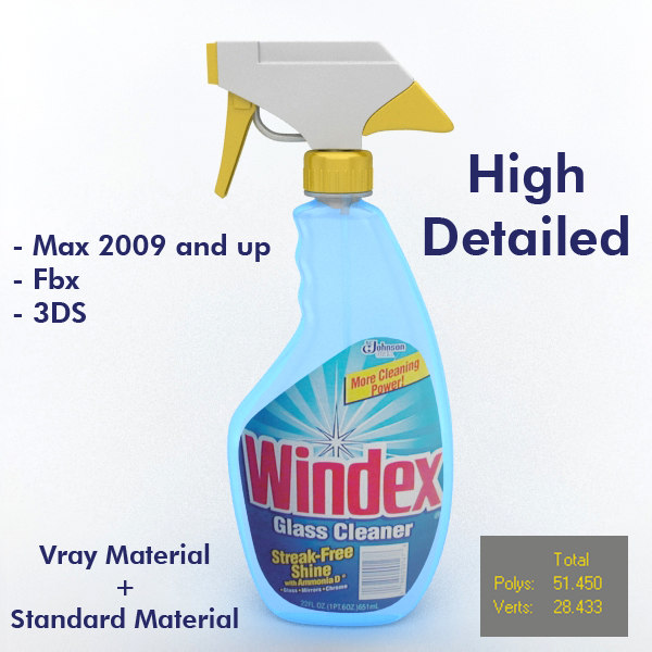 3d model of modeled glass cleaner