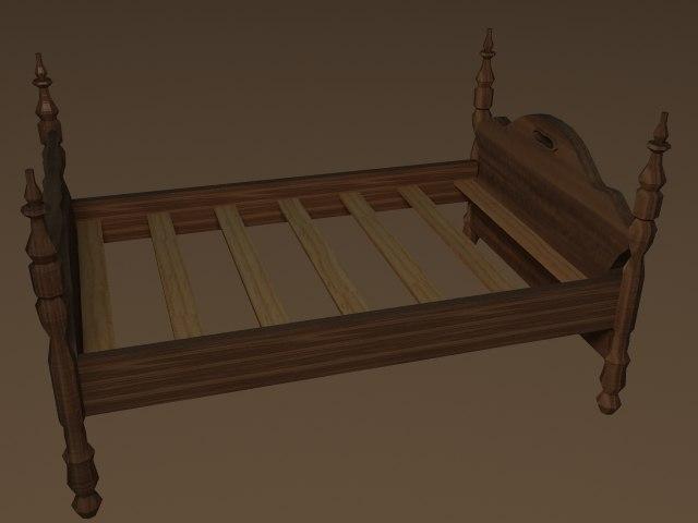 wooden bed lwo