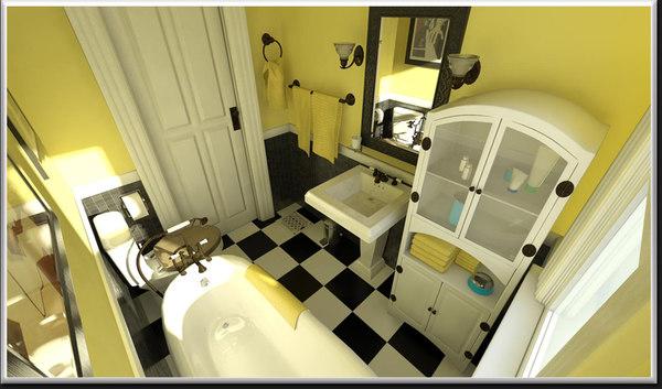3d model classic style bathroom