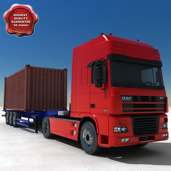 daf xf container truck 3d 3ds
