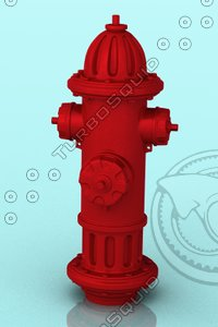 3d red hydrant model