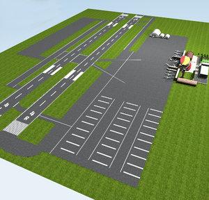 airport flughafen runway 3d model