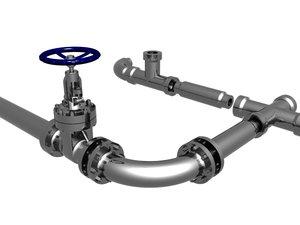 flange gate valve pipe 3d model