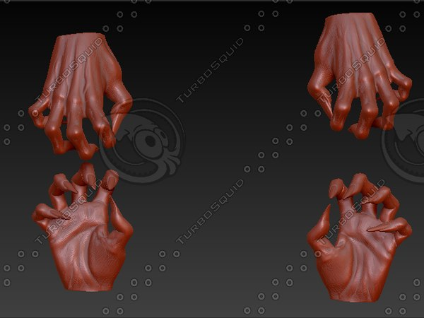 3d pair clawed hands
