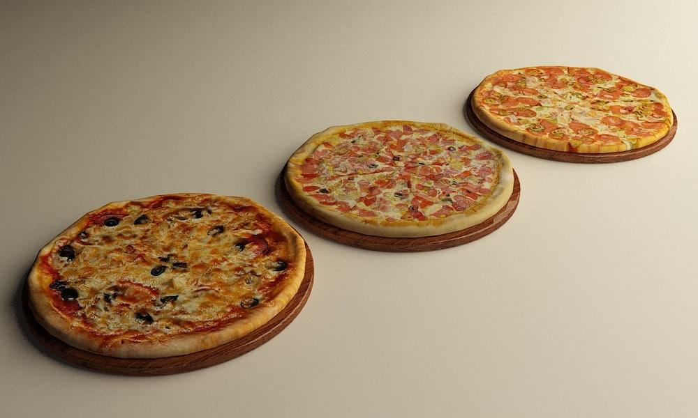 realistic pizzas 3d model