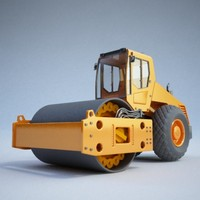 road roller construction - 3d model