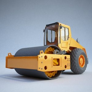 road roller construction - 3d model