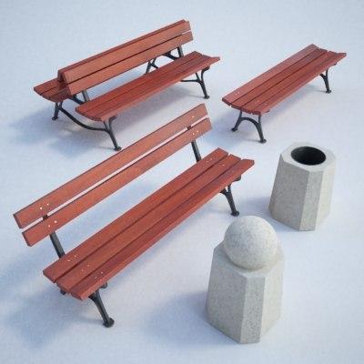 set street furniture bench 3d model