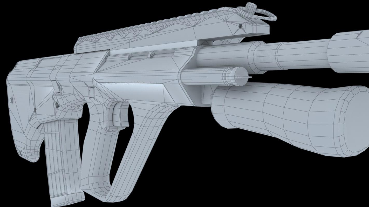 3d steyr aug a3 assault rifle model