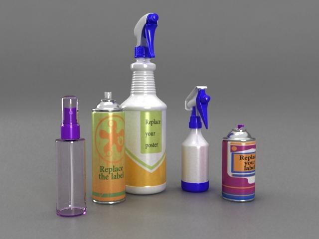 spray bottle 01 3d model