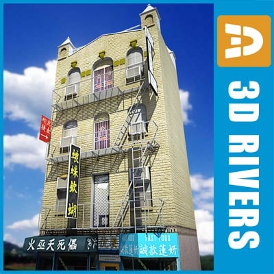 3d low-poly china town 4-storey