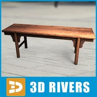 3d model of chinese bench simple