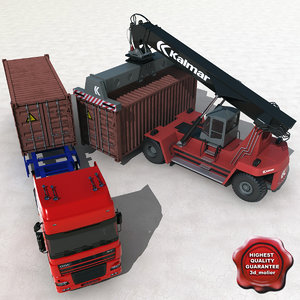 container truck reach stacker 3d 3ds