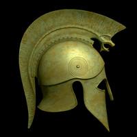 3d greek corinthian helmet spears model