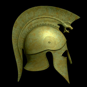 3d greek corinthian helmet spears model