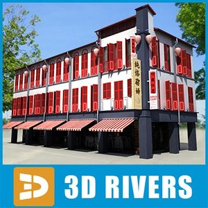 low-poly chinese town house 3d max