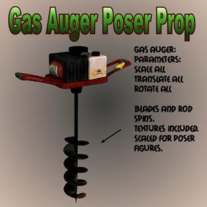 gas auger poser 3d model