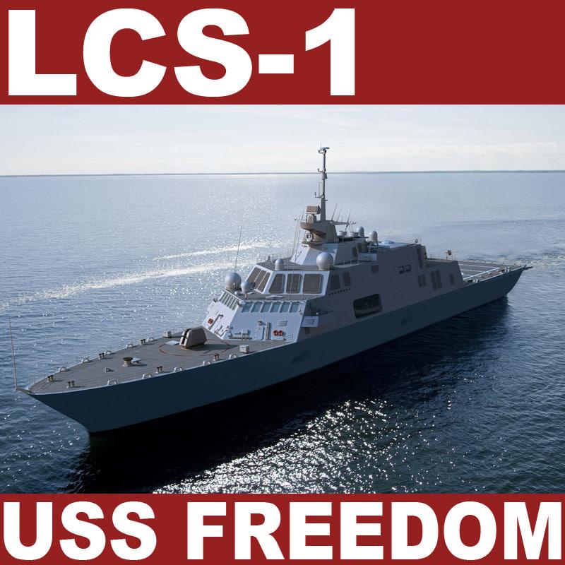 littoral combat ship uss 3d model