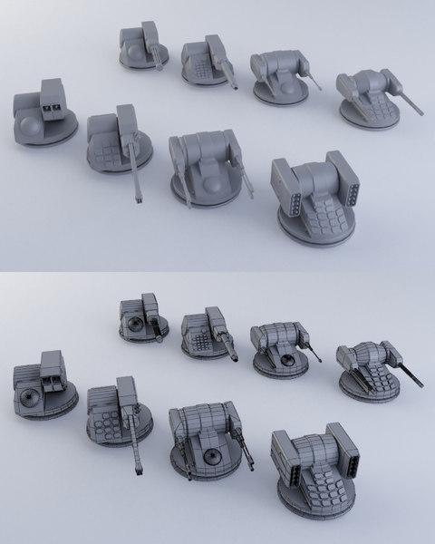 3d 8 sci-fi turrets
