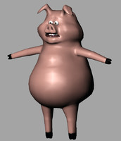 rigged cartoon pig animation 3d blend