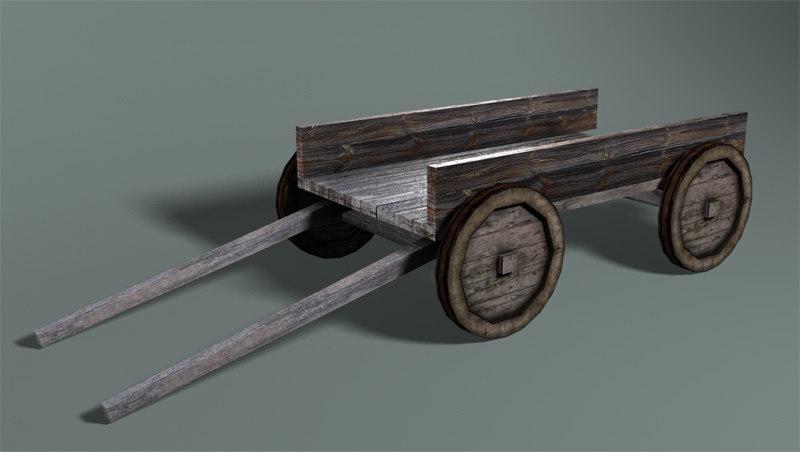 3d low-poly cart model