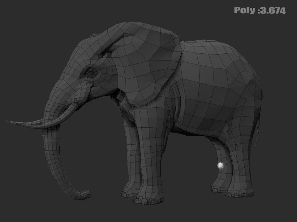3ds elephant modelled zbrush