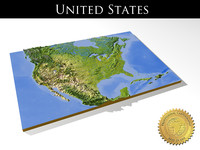United States, High resolution 3D relief maps