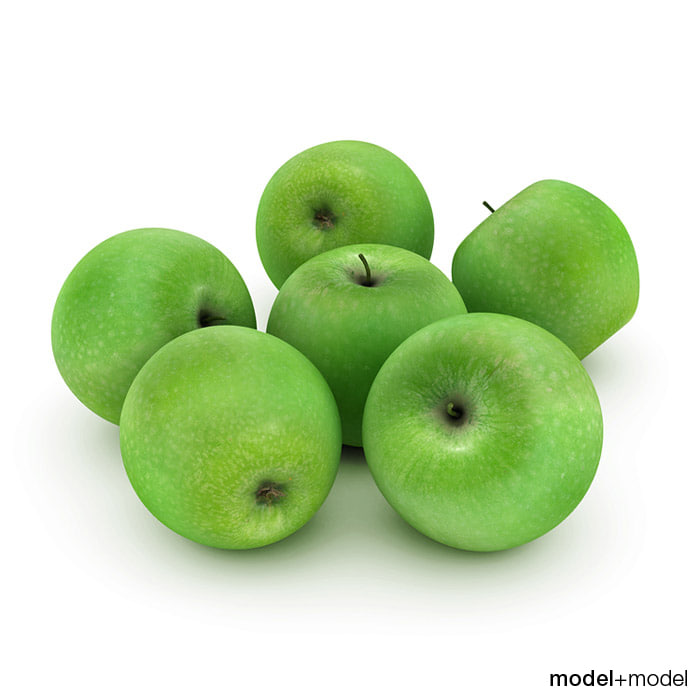 free green apples 3d model